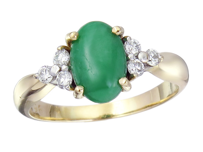 Ring Jade Brillanten 750 Gelbgold