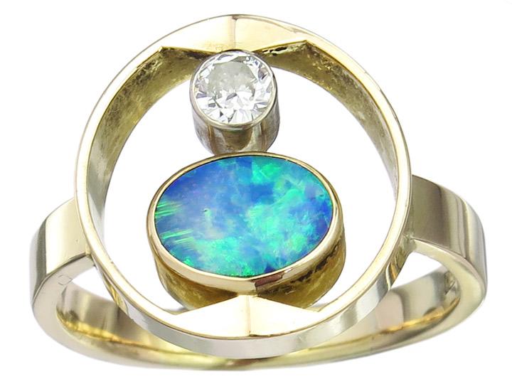Ring Opal Brillant 750er Gelbgold