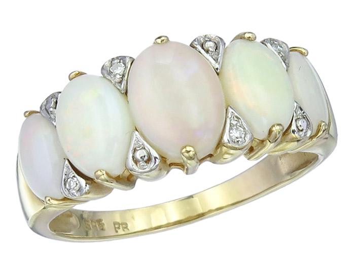 Ring Opale Diamanten 585er Gelbgold