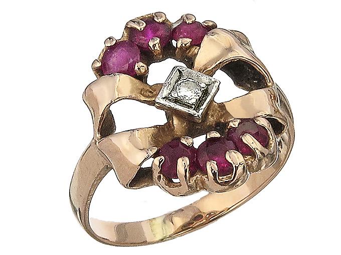 Ring Retro Brillant Rubine 585er Rotgold ca. 1930-40