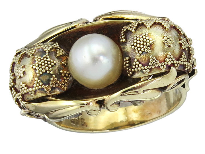 Ring Retro Pearl 14 Karat Yellow Gold approx. 1940