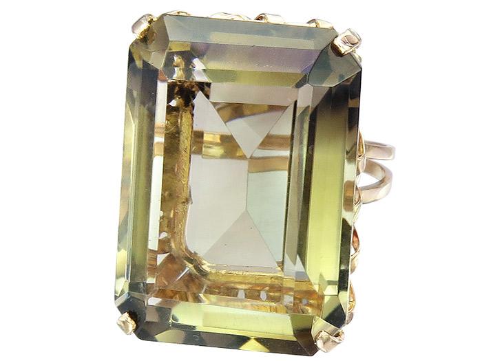 Ring Retro Rauchquarz 585er Rosegold ca. 1940-50