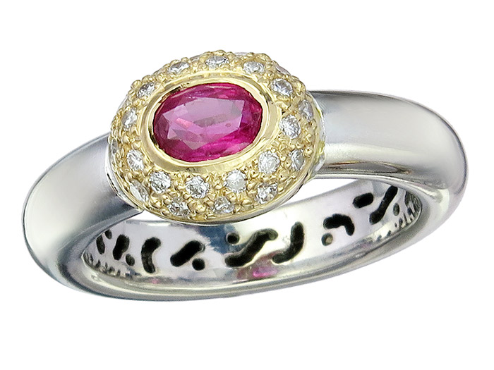 Ring Rubin Brillanten 750er Gold Zweifarbig