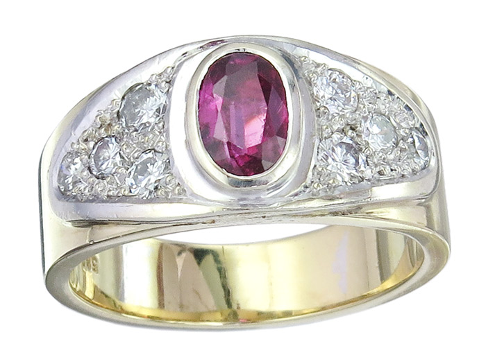 Ring Ruby Diamonds 14 Karat Gold Bicolor Certificate