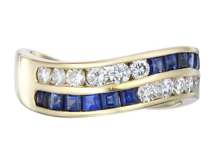 Ring Saphire Brillanten 750er Gelbgold