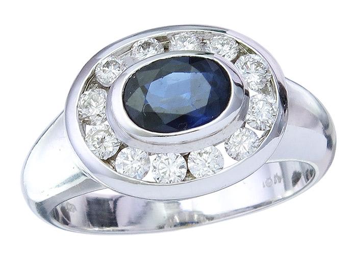 Ring Sapphire and Diamonds 18 Karat White Gold