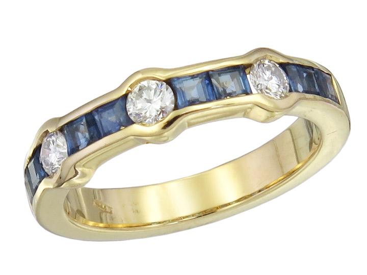 Ring Sapphires Diamonds 18 Karat Yellow Gold