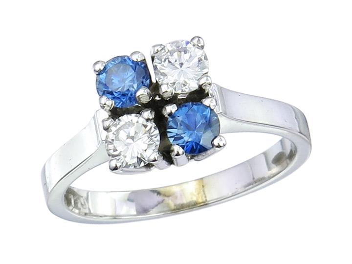 Ring Saphire Brillanten 585er Weissgold