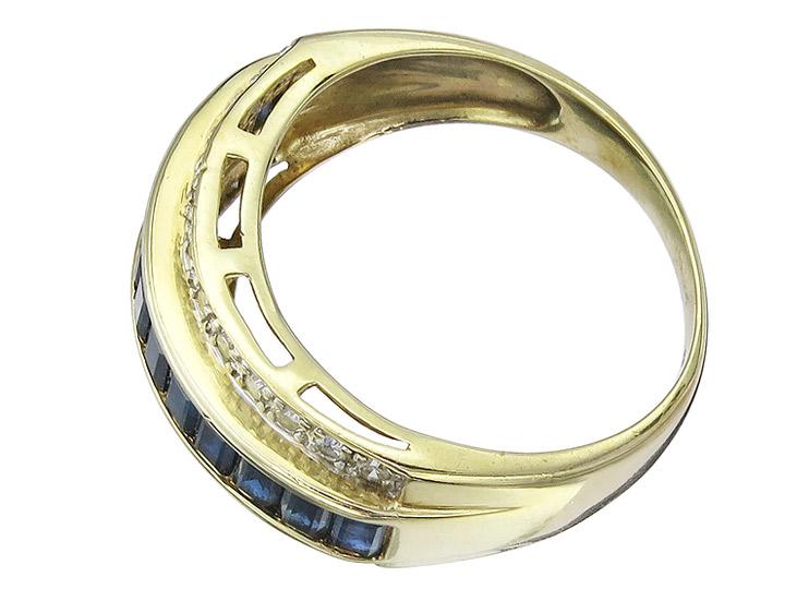Ring Sapphires and Diamonds 14 Karat Yellow Gold