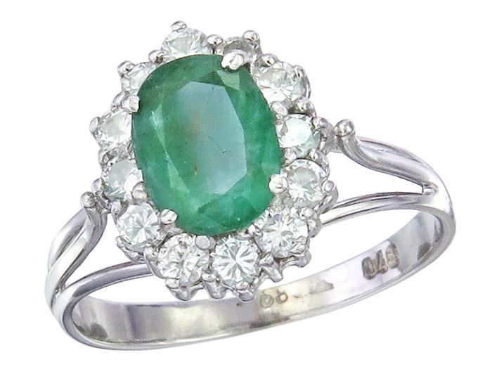 Ring Smaragd Brillanten 585er Weißgold