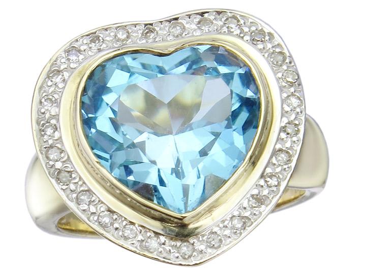 Ring Topaz Diamonds 14 Karat Yellow Gold