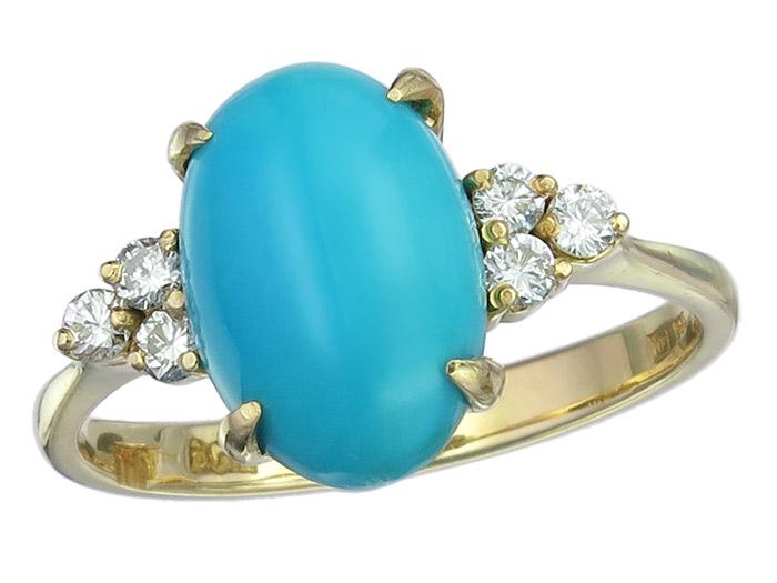 Ring Türkis Brillanten 585er Gelbgold