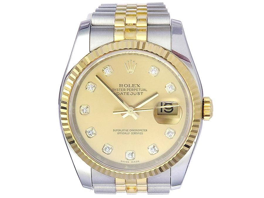 Rolex Oyster Perpetual Datejust Stahl Gold Diamantblatt von 2011