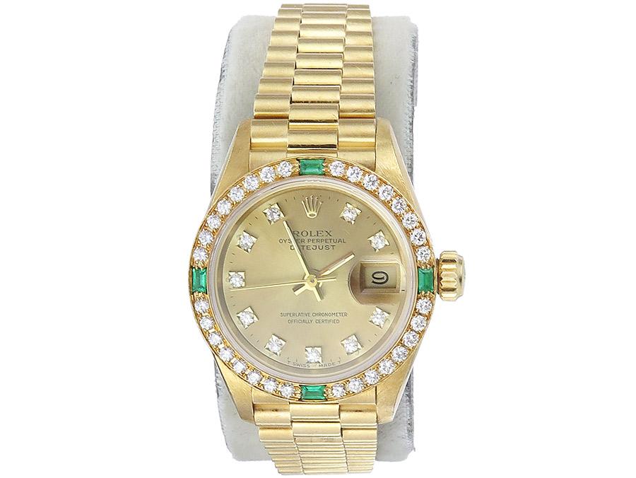 Rolex Lady Datejust President Gold Diamenten Smaragde Papiere Box