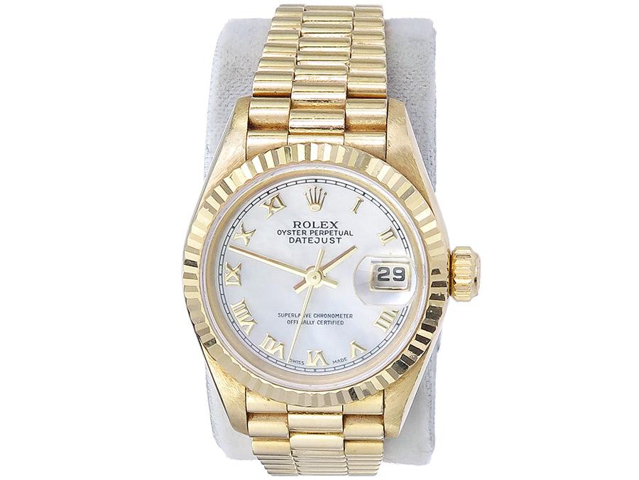 Rolex Lady Datejust Gold Goldband Perlmuttblatt