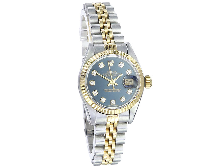 Rolex Lady Datejust Steel Gold Diamond Dial Box Papers