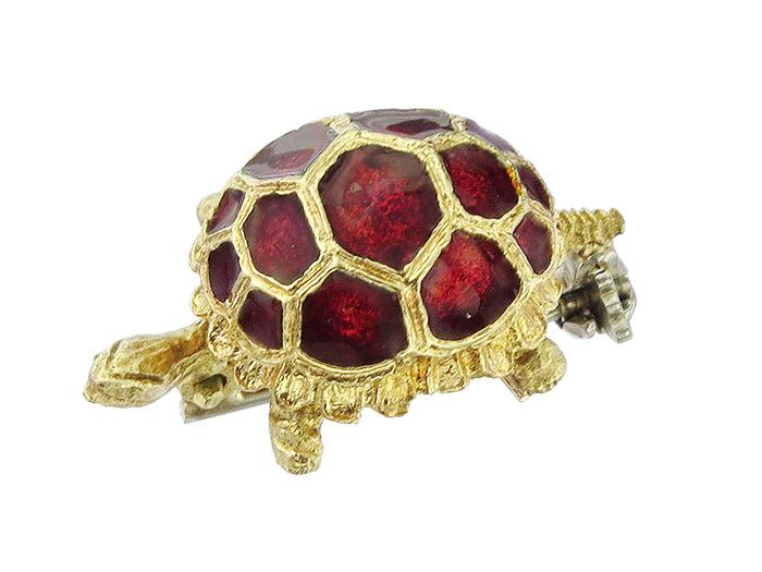 Brosche Schildkröte Rote Emaille 750er Gelbgold