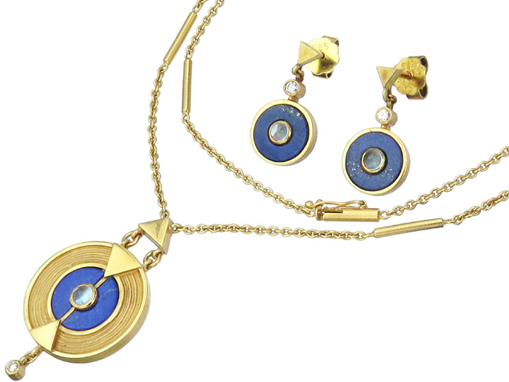 Jewelry Set Two Parts Lapis Lazuli Moon Stone Diamond 14 Karat Yellow Gold