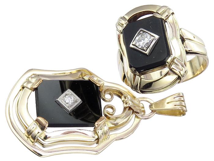 Schmuckset Antik Ring und Anhänger Onyx Diamant 585er Gelbgold ca. 1930