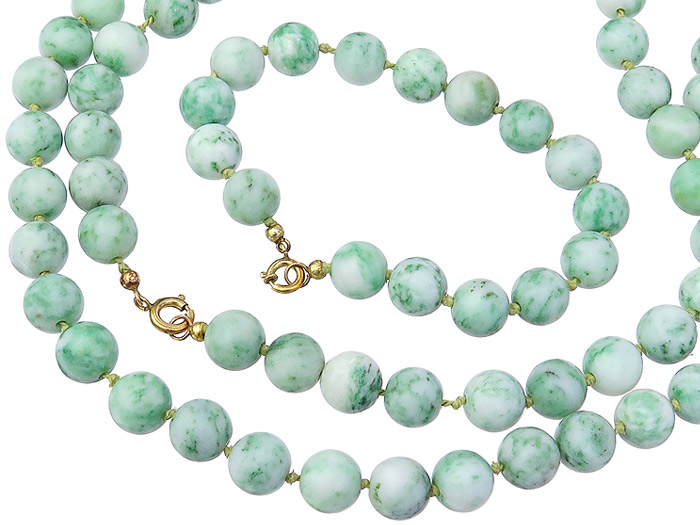Jewelry Set Necklace and Bracelet Green Colored Stones