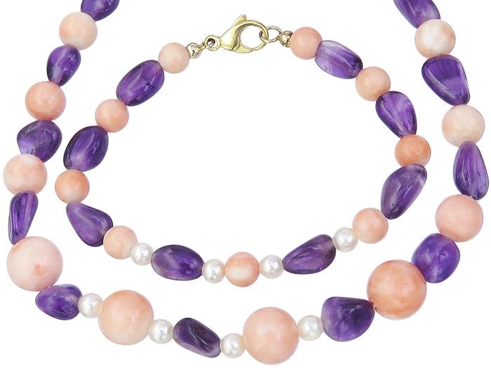Schmuckset Armband und Kette Engelhaut Koralle Perlen Amethyst