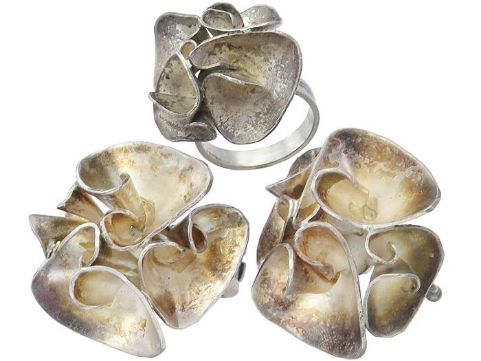 Schmuckset Ring Ohrclips 835er Silber um 1970