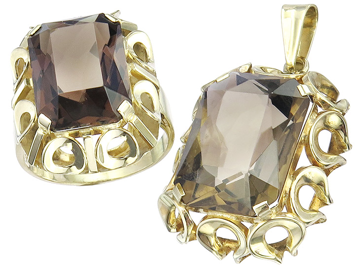Jewelry Set Retro Two-Piece Smoky Quartz 14 Karat Yellow Gold
