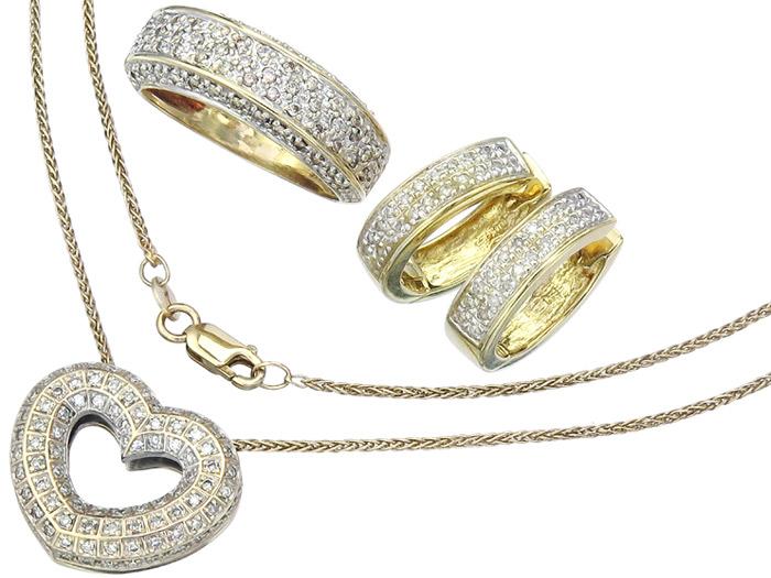 Schmuckset Drei-Teilig Brillanten und Diamanten 585er Gelbgold