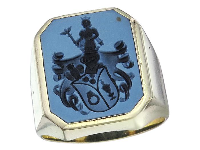 Signet Ring Gentleman Ring Blazon of the Goldsmiths Blue 14 Karat Yellow Gold