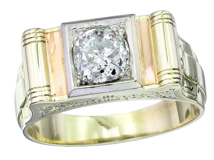 Solitaer Herren Ring Altschliff Diamant 585er Gelbgold ca. 1930-40