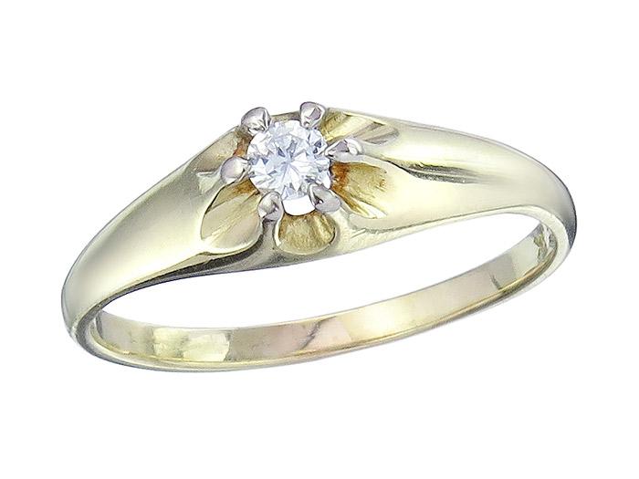 Solitaire Ring Diamond approx. 0,10 Carat 14 Karat Yellow Gold