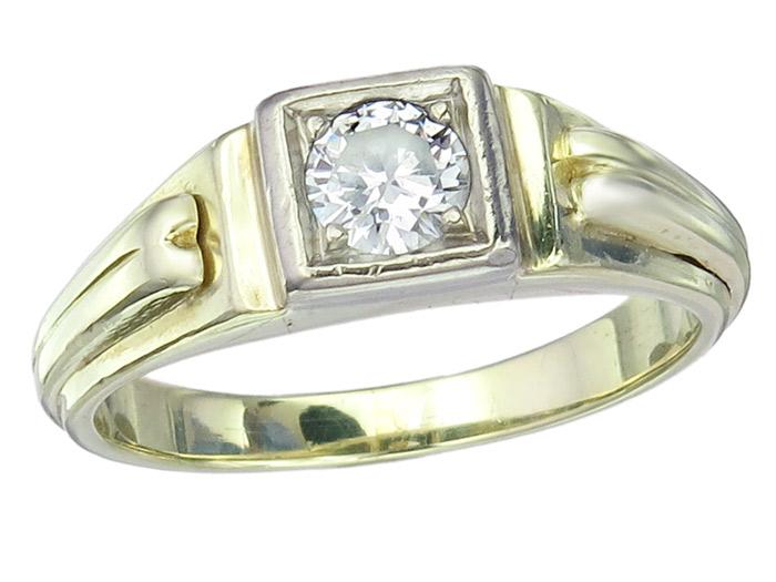 Solitär Ring Brillant 585er Gelbgold Retro ca. 1940