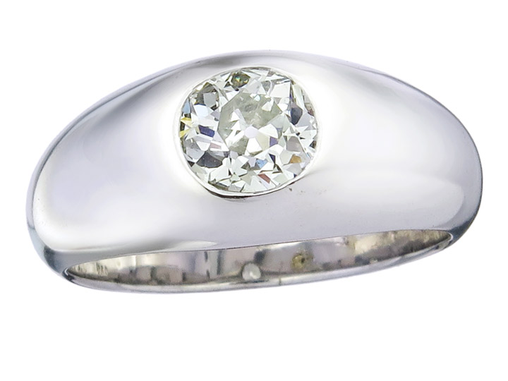 Solitär Ring Altschliff Diamant 1,25 Carat 750er Weissgold Zertifikat