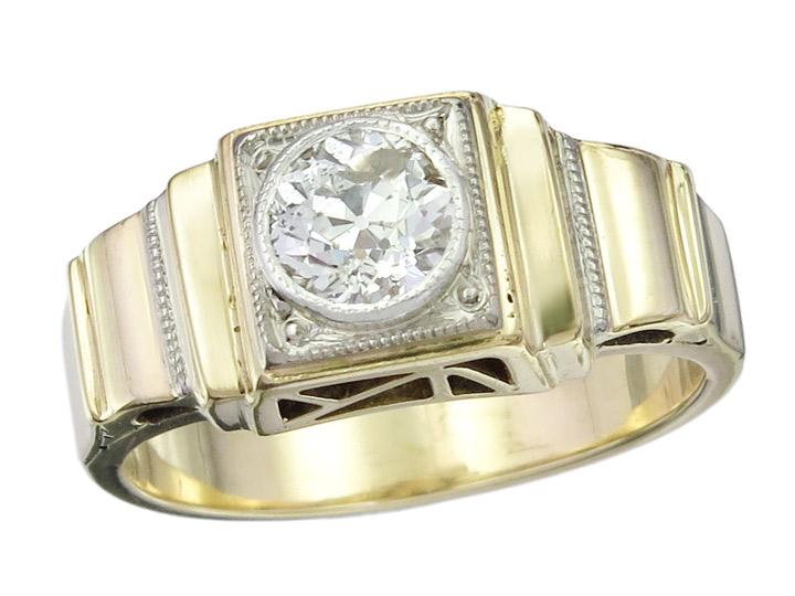 Solitär Ring Altschliff Diamant 585er Gelbgold Art Déco ca. 1920-30