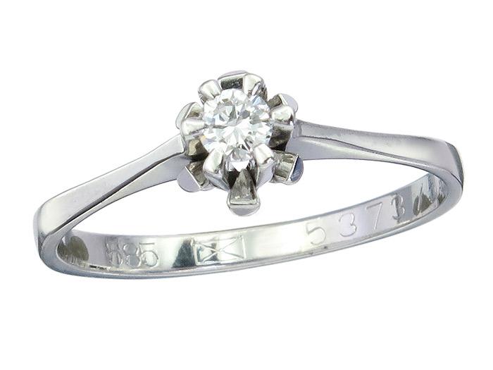 Solitär Ring Brillant ca. 0,15 Carat 585er Weißgold