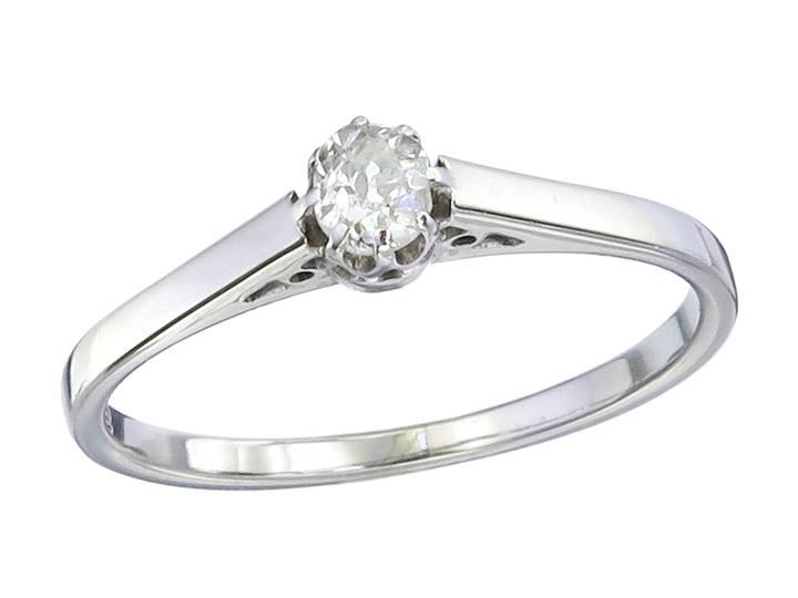 Solitär Ring Altschliff Diamant 750er Weissgold Antik um 1920