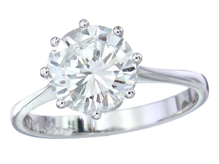 Solitaire Ring Diamond 1.89 Carat 18 Karat White Gold HRD Certificate
