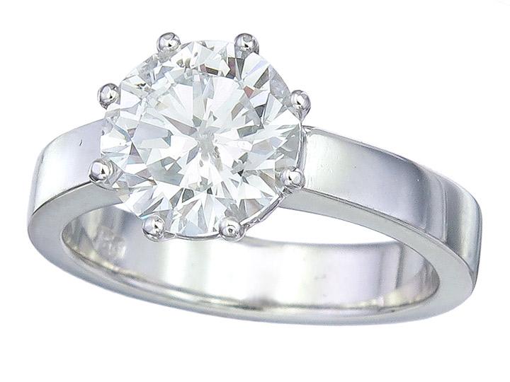 Solitär Ring Brillant 2,51 Carat 750er Weissgold HRD Zertifikat