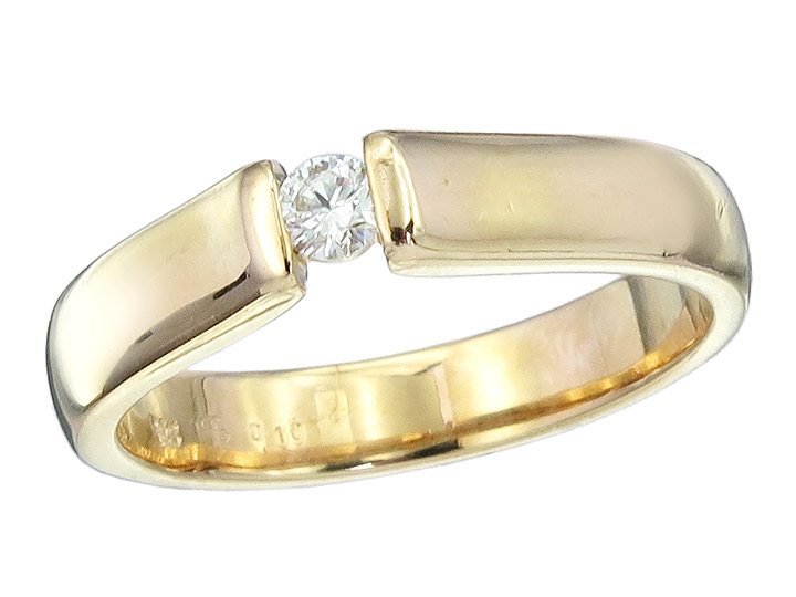 Solitär Ring Brillant 0,10 Carat 585er Gelbgold