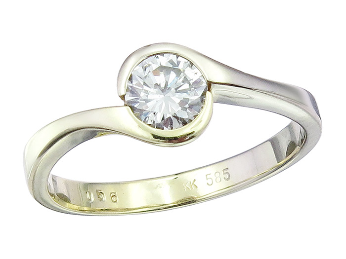 Solitaire Ring Diamond approx. 0.56 Carat 14 Karat Yellow Gold