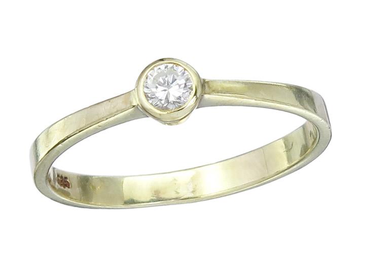 Solitär Ring Brillant ca. 0,11 Carat 585er Gelbgold