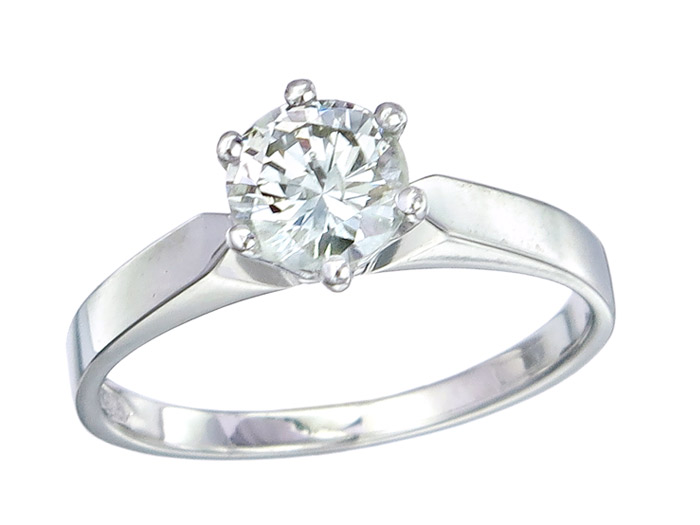 Solitaire Ring Diamond approx. 0.67 Carat 14 Karat White Gold