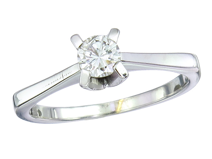 Solitaire Ring Diamond 14 Karat White Gold