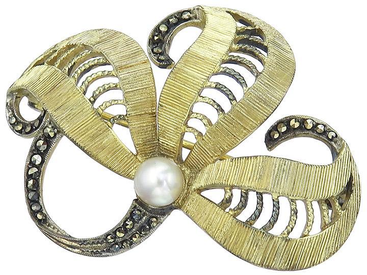 Theodor Fahrner Brooch Pearl Marcasites 925 Silver