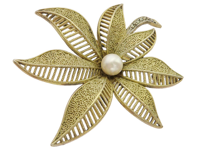 Theodor Fahrner Brooch Pearl Marcasites 925 Silber Gold Plated