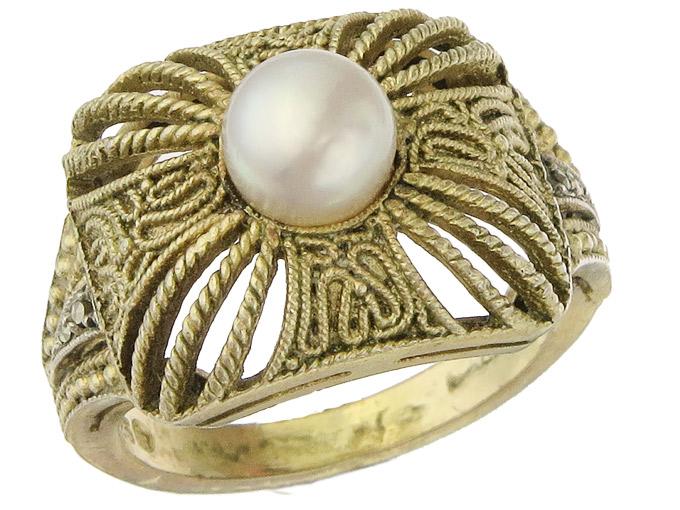 Theodor Fahrner Ring Perle Markasiten 925er Silber Vergoldet