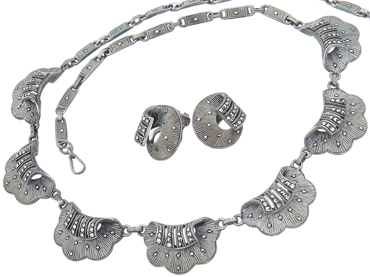 Theodor Fahrner Jewelry Set Two-Part Marcasites 925 Silver