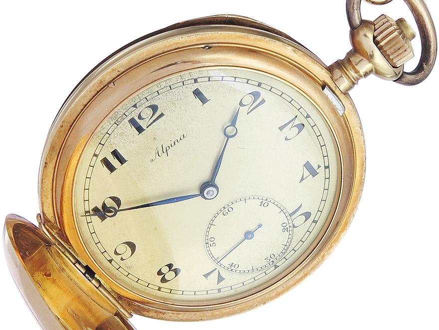 """Taschenuhr """"Alpina"""" Gold ca. 1930"""