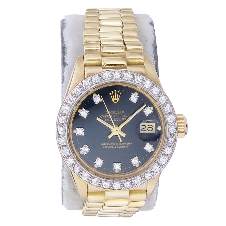 Rolex Lady Datejust Gold Diamonds Box Papers