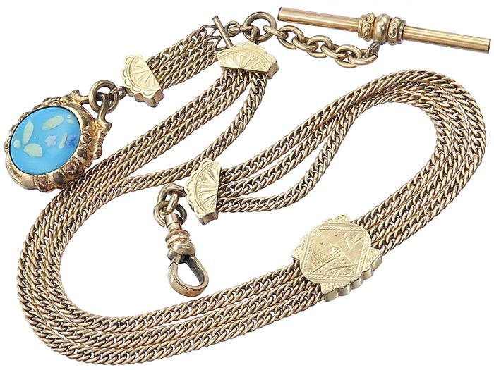 Uhrenkette Antik Anhänger Onyx Emaille Schieber Knopflochsteg Double um 1920